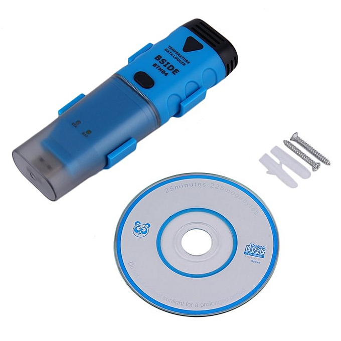 Generic Universal BSIDE BTH04 Digital USB Temperature Data Logger Reading Recorder bleu & noir à prix pas cher