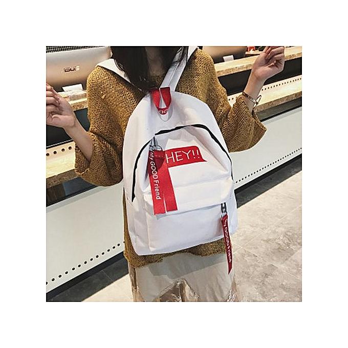 mode SingedanUnisex toile Print Two Set Double Shoulder sac Handsac sac à dos Zipper sac -blanc à prix pas cher
