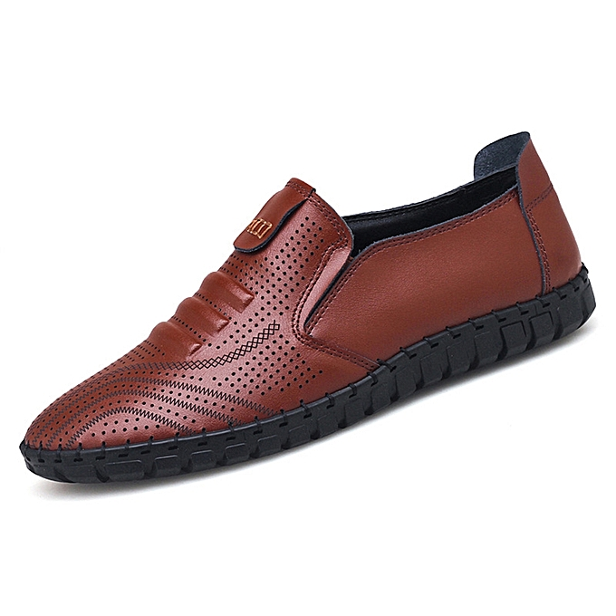 Fashion Men Breathable Hollow Outs chaussures Genuine Leather Slip On Oxfords à prix pas cher