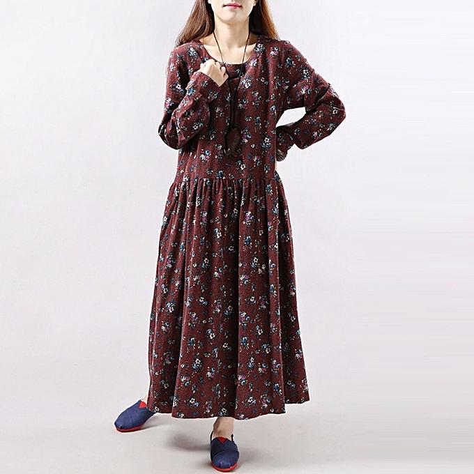 Zanzea femmes manche longue Crew Neck Floral Robees Vintage Loose Maxi Robe  à prix pas cher