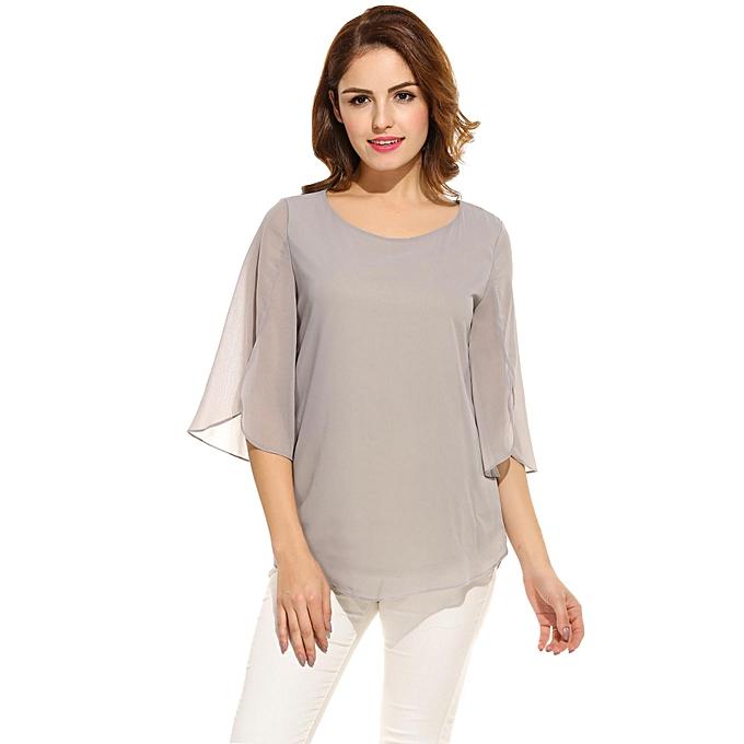 ACEVOG gris Mix Cotton 3 4 Sleeve O-Neck Blouse For femmes à prix pas cher