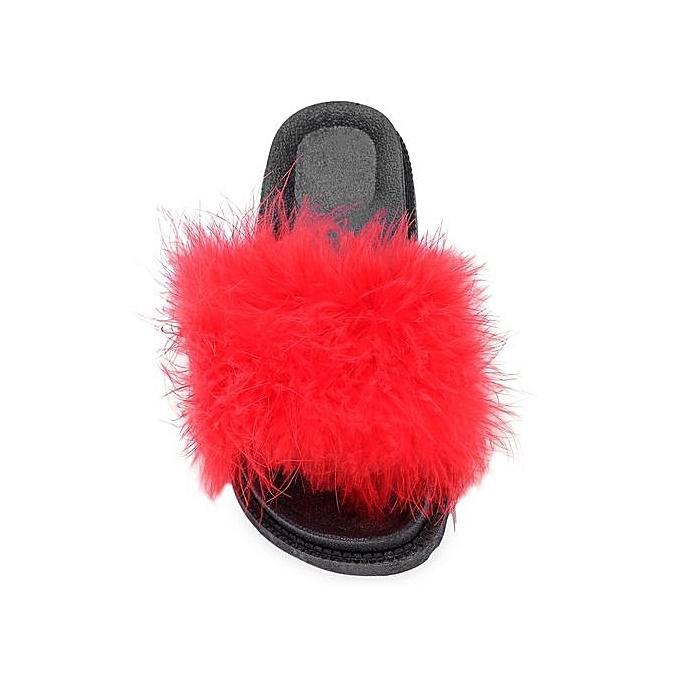 Fashion WoHommes  Casual Flat Platform Coral Fleece Lightweight Slippers_RED Slippers_RED Slippers_RED à prix pas cher  | Jumia Maroc 4ab75e