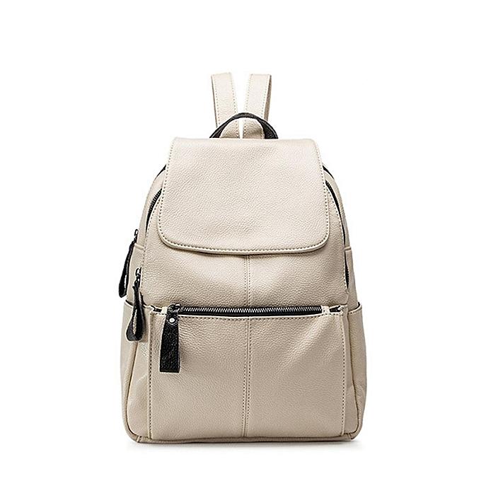 Fashion femmes Cowhide Leather Backpack Travel Girls School Leisure Shoulder Bag Satchel Beige à prix pas cher