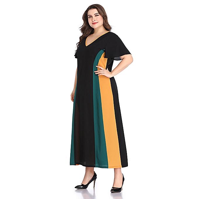 Fashion (Xiuxingzi) Plus Taille femmes Short Sleeve Patchwork V-Neck Dress à prix pas cher