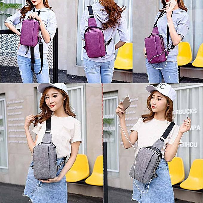 mode Tcetoctre High capacité  USB Chest sac For Hommes&Female toile Décontracté bandoulière sac violet-violet à prix pas cher