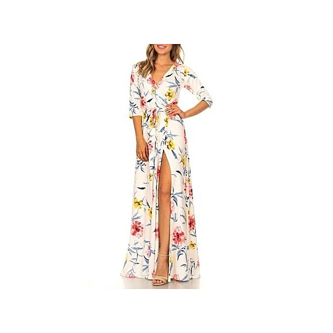 Fashion femmes Sexy Deep V Neck Beach Casual Tunic Femme Vestidos Half Sleeve Boho Floral Printed Pocket Long Maxi Dresses-blanc à prix pas cher