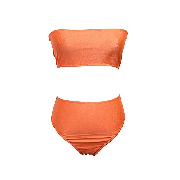Autre New Bikini Strapless Swimwear femmes Solid 6 Couleur Swimsuit  4.39 Per Piece New Item y Off Shoulder Bathing Suit(Orange) à prix pas cher