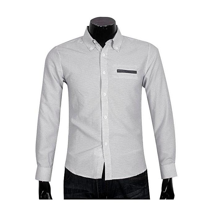 Fashion Men's Business Casual Long-sleeved Shirt Printing Dots blanc L- blanc à prix pas cher