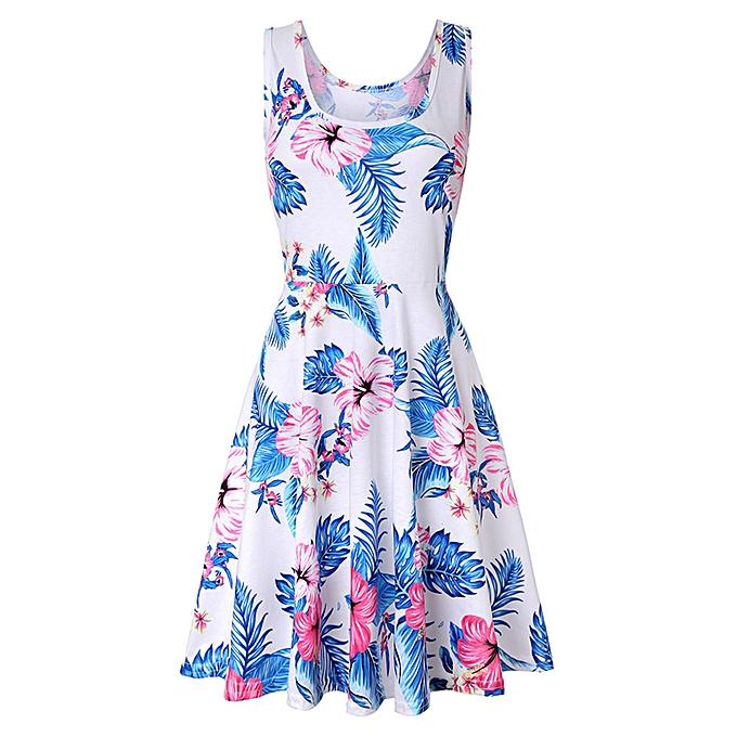 mode schoolcool  femmes Sleeveless impression été plage A Line Décontracté Robe Floral Robe à prix pas cher