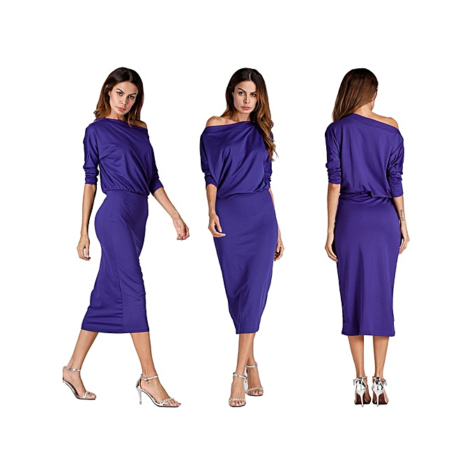 OEM New arrivel autumn winter femmes Fashion sexy Inclined shoulder solid dress bodycon casual nightclub party dress-bleu à prix pas cher