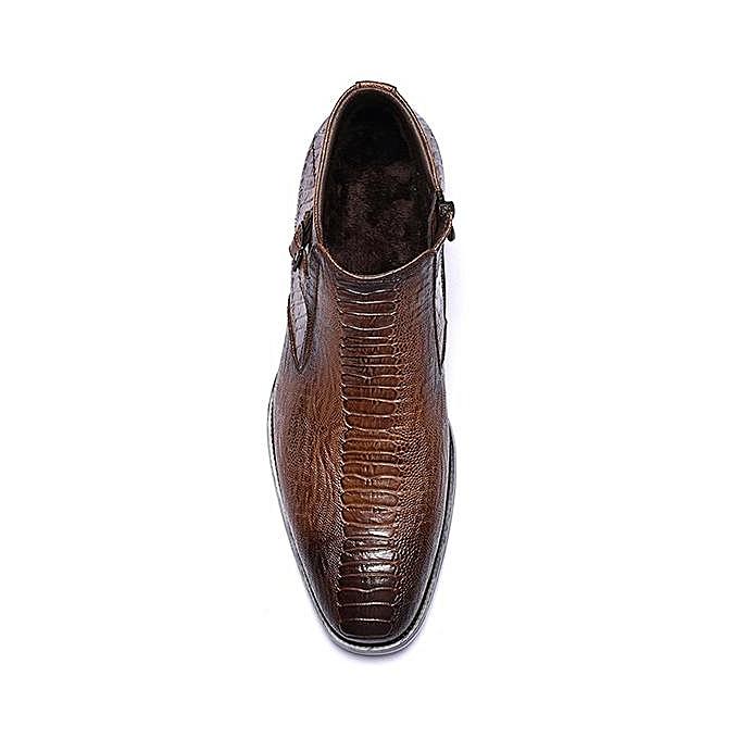 Fashion Fashion Large Size   Crocodile Pattern Plush Toe Lining Side Zipper Pointed Toe Plush Ankle Boots-EU à prix pas cher  | Jumia Maroc cceec2