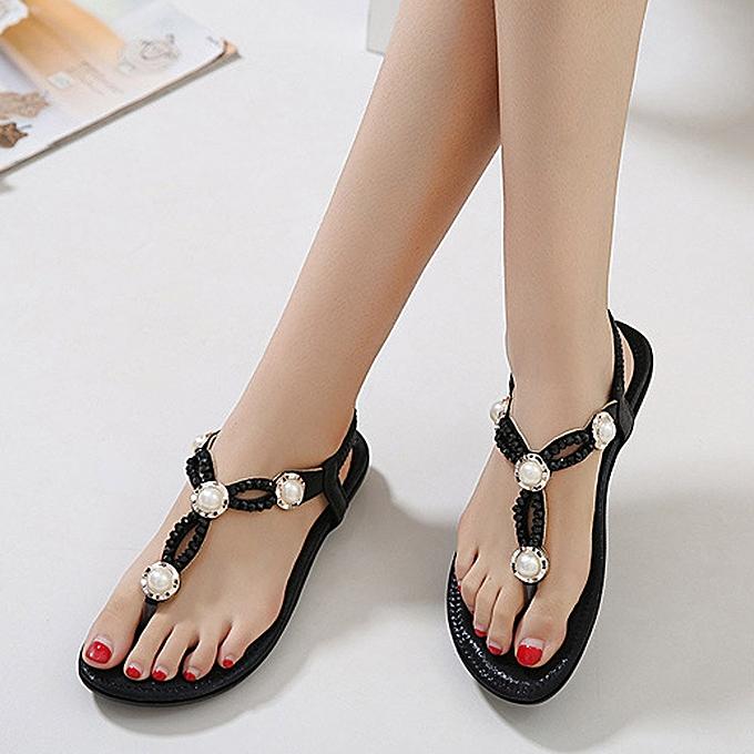 Generic Tcetoctre femmes Bohe Rhinestone mode Flat grand Taille Décontracté Sandals plage chaussures -noir à prix pas cher