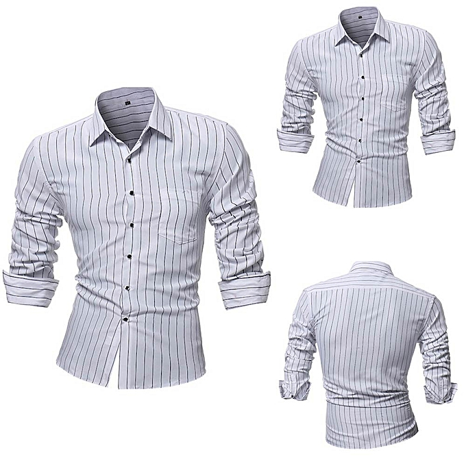 Fashion Personality Men's Striped Casual Slim Long Sleeve Printed Shirt Top Blouse -blanc à prix pas cher