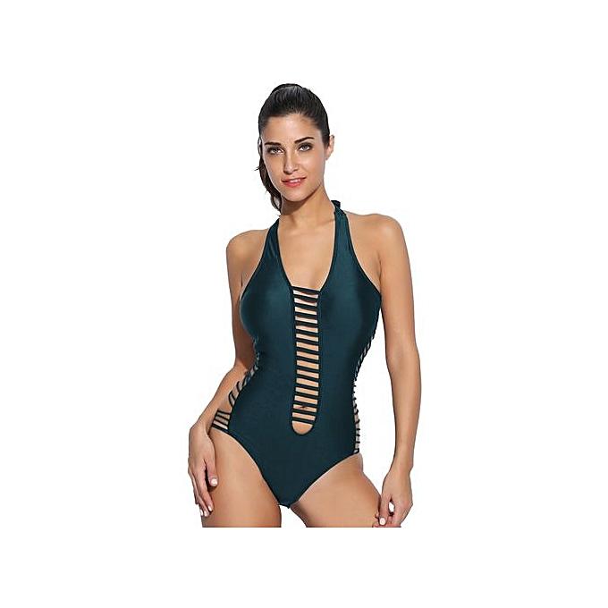 Ekouaer femmes Halter Padded HolFaible Out Monokini One Piece maillot de bain maillot de bain à prix pas cher