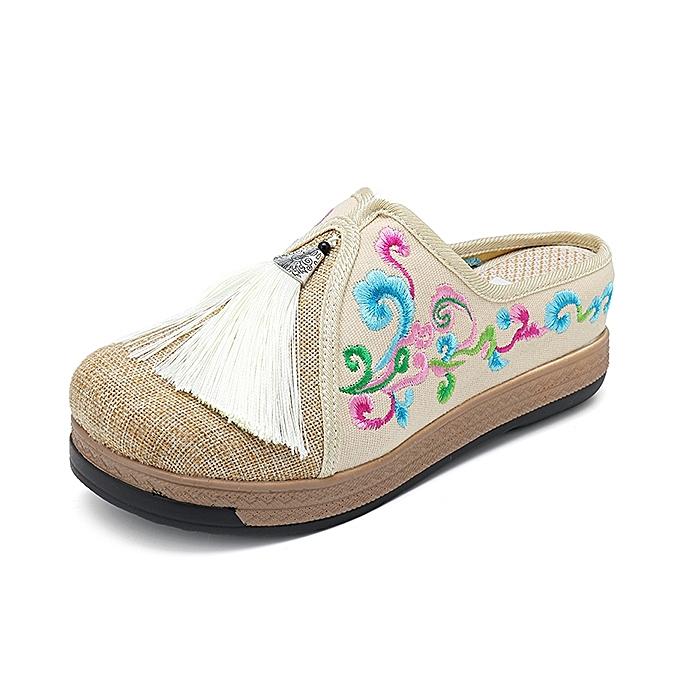 Fashion femmes Fringe Flower Embroidery Comfortable Casual Sandals à prix pas cher