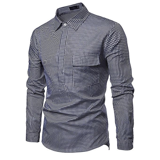 mode nouveau mode petit plaid body design gentlehomme dynamic Hommes& 039;s lapel long-sleeved shirt-bleu à prix pas cher