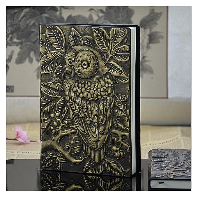 UNIVERSAL 01663 Vintage Thick Handmade Leather Carving Owl Sketchbook Journal Cute Notebook(vert) à prix pas cher