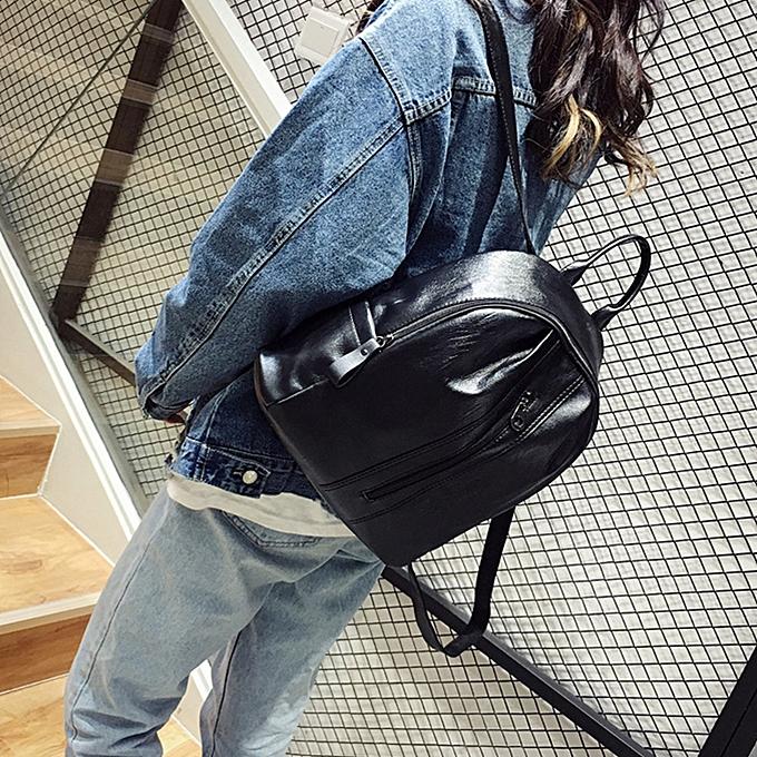 Fashion Tcetoctre Wohommes Fashion Solid ZIpper Shoulder Bags Backpack Travel Rucksack BK-noir à prix pas cher