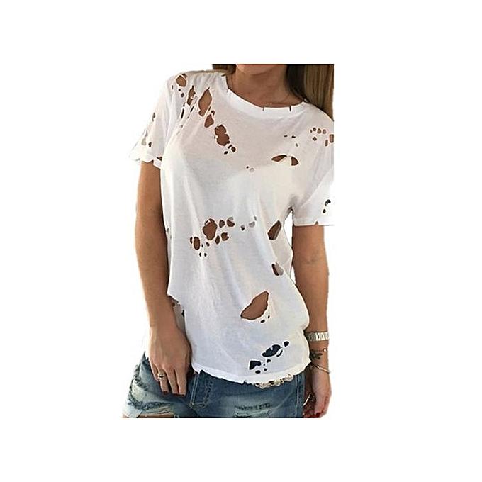 mode 2017 nouveau mode Ripped Holes Sexy T-shirt été Top femmes O-neck manche courte HolFaible Out Décontracté Tee Shirts bleusas blanc à prix pas cher