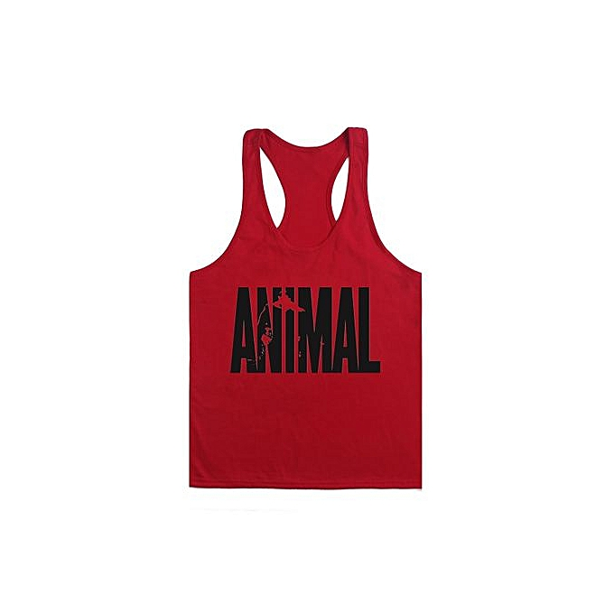 Other Hommes& 039;s Professional Bodybuilding Fitness Cotton Deep Digging Loose Sports Vest-rouge and noir à prix pas cher