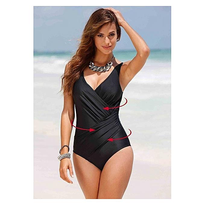 Autre 2019 New Plus Taille Swimwear femmes One Piece Swimsuit Solid Swimwear Large Taille Vintage Retro Swimsuit Bathing Suits Monokini 4XL( Q805BL) à prix pas cher