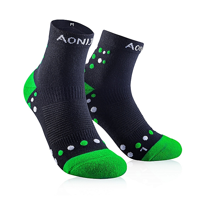 AONIJIE Outdoor Sports Scocks Running Athletic Perforhommece Tab Training Cushion Compression Socks Heel Shield Cycling(noir vert)(M) à prix pas cher