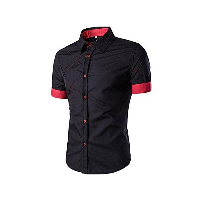 Generic manche courte Slimming Checked Pattern Shirt (noir) à prix pas cher