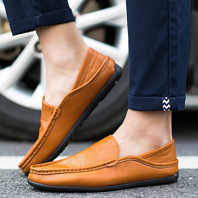 OEM New simple peas chaussures set foot hommes chaussures Korean version of driving hommes casual chaussures half dragging tide leather chaussures-marron à prix pas cher    Jumia Maroc