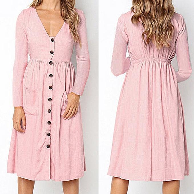 mode schoolcool femmes Solid V Neck Button Robe manche longue Pocket Décontracté  plage Long Maxi Robe à prix pas cher