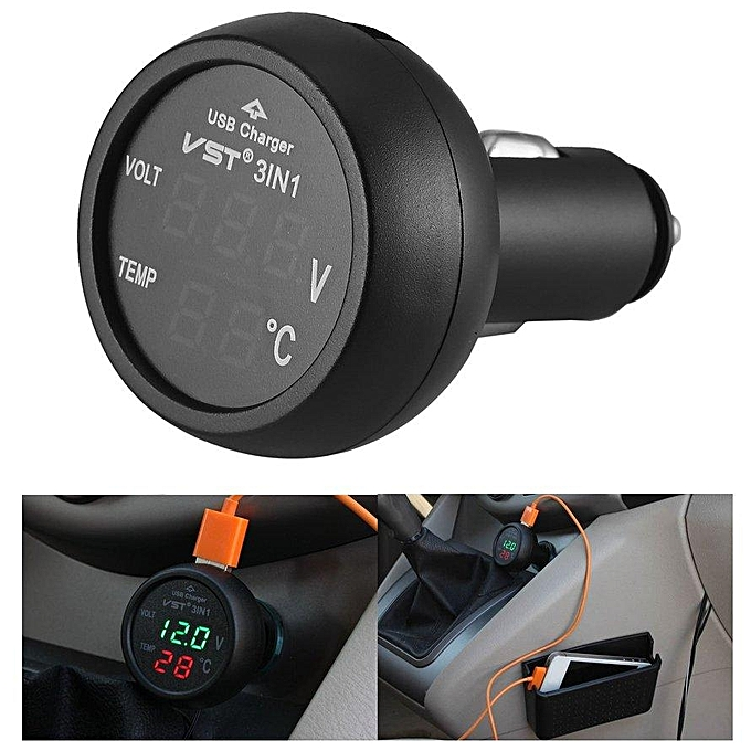 Other 3 in 1 Digital LED USB Car Charger Voltmeter Thermometer Car Battery Monitor vert 3Pcs Free Shipping FCJMALL à prix pas cher