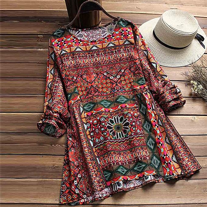 mode femmes Floral Printed manche longue Tunic Swing hauts Shirt chemisier à prix pas cher
