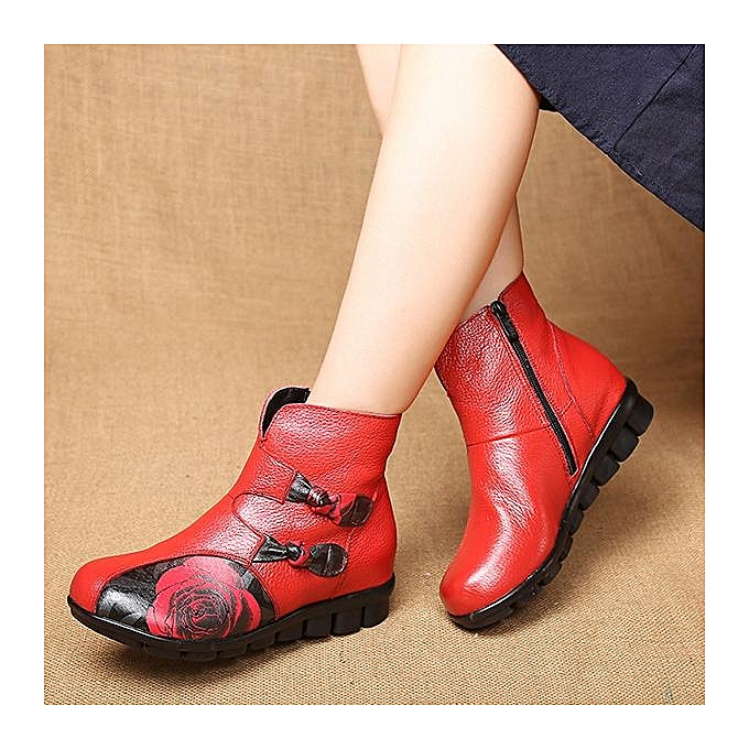 Fashion SOCOFY Fashion Retro Printing Pattern Ankle Flat Ankle Pattern Leather WoHommes  Boots à prix pas cher  | Jumia Maroc 126b1e
