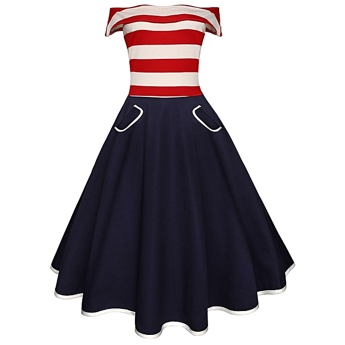 mode Sedectres Shop femmes Vintage Off The Shoulder Flag impression Evening Party Prom Swing Robe à prix pas cher