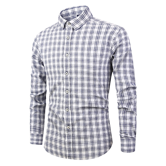 Fashion Cotton hommes long-sleeved plaid shirt youth popular Men's shirt Korean fashion tide hommes clothing-blanc à prix pas cher