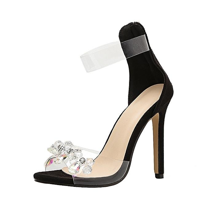 Fashion Fashion Rhinestone Open Toed talons hauts femmes Transparent Stiletto Sandals  -noir à prix pas cher