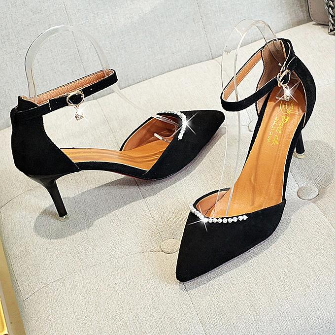 Generic Sedectres femmes Thin talons Nude Pointed Toe Imitation Diamond Ankle Strap talons hauts chaussures-noir à prix pas cher