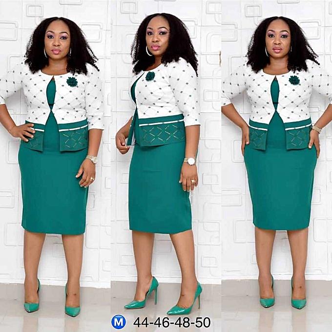 Fashion Robe élégante à carreaux - vert à prix pas cher