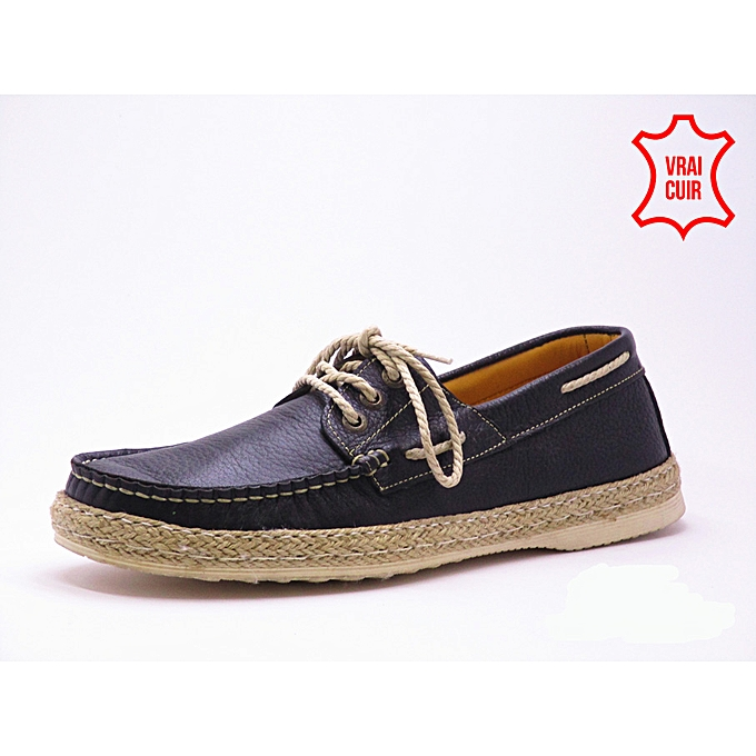 Flex chaussures Mocassin Bateau havana cuir véritable Noir  à prix pas cher    Jumia Maroc