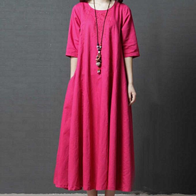 Generic Xiuxingzi femmes Bohemian Solid Couleur Embroiderouge O-Neck Cotton Linen Dress HOT 2XL à prix pas cher