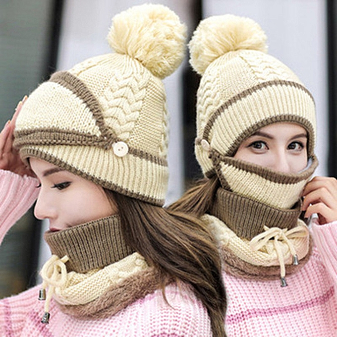 Other Ma'am Winter Beanie Hat and Scarf Set Warm Knitted Cap with Scarf Unisex à prix pas cher