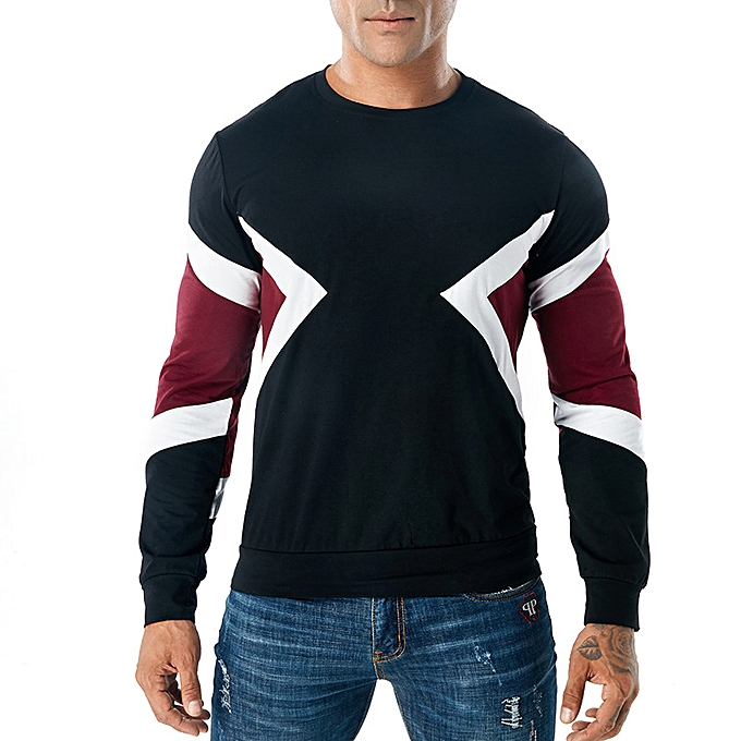 Fashion Spring new three-Couleur round neck hommes long-sleeved T-shirt à prix pas cher