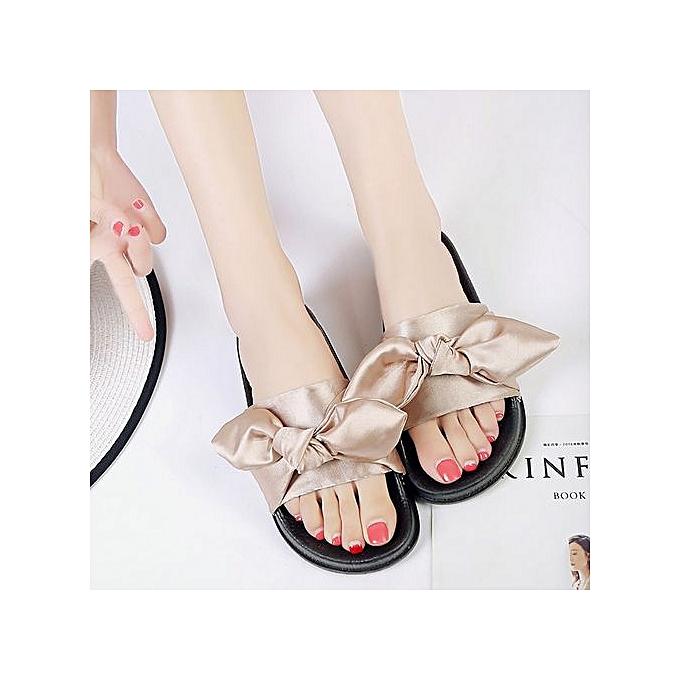 Fashion Jiahsyc Store Summer femmes Bow Wedge Sandals Beach chaussures Flip Flops Platform Slippers KH 36-Khaki à prix pas cher    Jumia Maroc