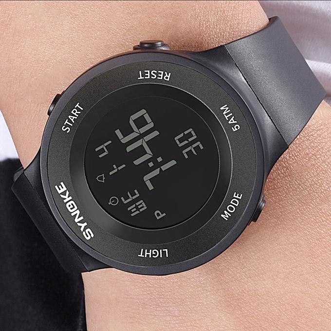 8b77b21fe ... SYNOKE 9199 ساعة رياضية LED ساعة رقمية منبه مضيئة التوقيت الثاني الفرقة الرياضة  للماء ...