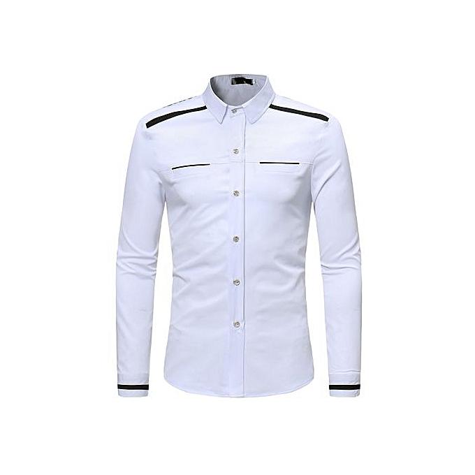 AFankara Shirt Slim Fit Popular Designs Hommes Shirts-blanc à prix pas cher