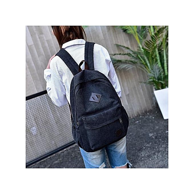 Generic Neutral toile sac à dos School Lady Hommes voyage Student School Laptop sac  noir à prix pas cher