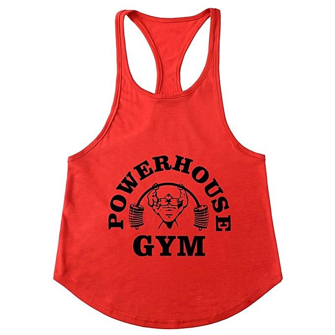 Other GYM Men's Slim Shoulder Belt Running Sports Fitness Men's vest-rouge&noir à prix pas cher