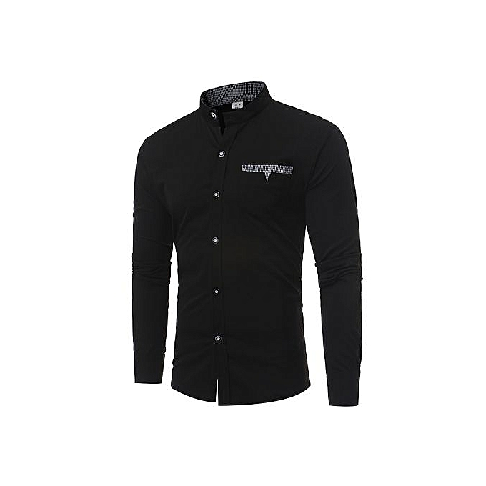 AFankara Men Shirts New Arrivals Slim Fit Male Shirt-noir à prix pas cher
