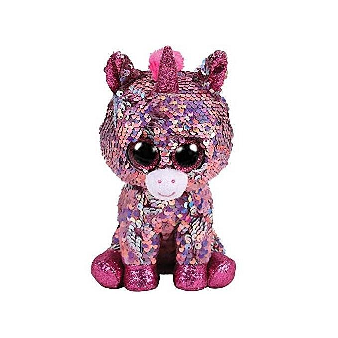 Autre TY Beanie Boos 15cm Sequin Dangler Unicorn Bird Dog Cat Fox Owl Fish Dragon Plush Toys Big EyesStuffed Animal Soft Toy Kid Gift(argent) à prix pas cher
