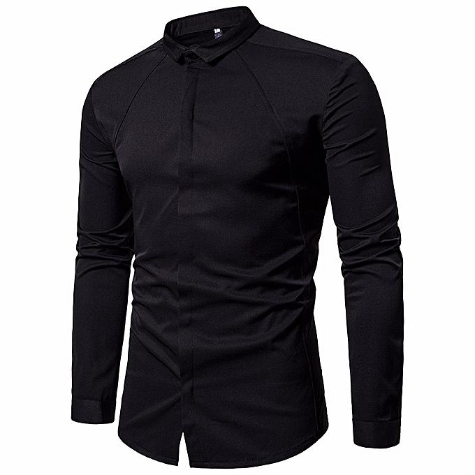 mode jiahsyc store Hommes's  Shirts Slim Fit Solid manche longue Décontracté Button Shirts Formal Top chemisier à prix pas cher
