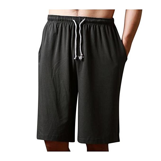 mode Hommes Décontracté Home Comfort respirant Loose Elastic Big Taille Knee longueur Sleepwear Lounge courtes Dark gris à prix pas cher